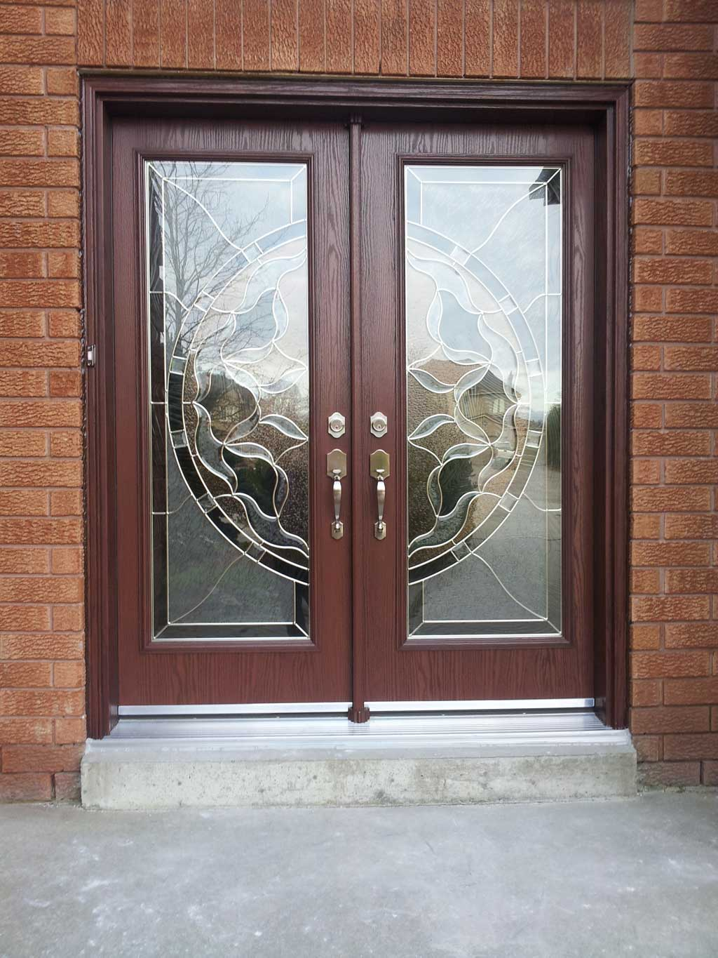 Image of Front Entry Door Showing Woodgrain Double French Doors